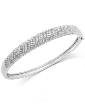 Diamond Multi-Row Bangle Bracelet in Sterling Silver (1 ct. t.w.) -  Macy's