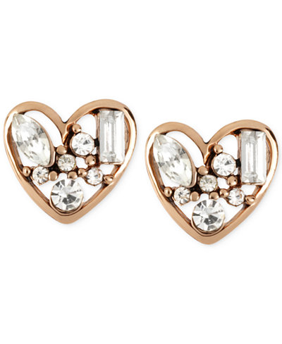 Betsey Johnson Rose Gold-Tone Crystal Heart Stud Earrings