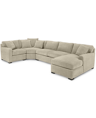 Radley 4 piece fabric chaise sectional sofa furniture for Radley 5 piece fabric sectional sofa