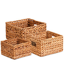Honey Can Do 3-Piece Nesting Water Hyacinth Basket Set