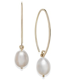 14k Gold Earrings, Cultured Freshwater Pearl Drop