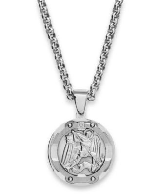Mens St Michael Diamond Pendant Necklace in Stainless Steel
