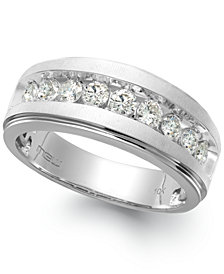 Men's Nine-Stone Diamond Ring in 10k White Gold (1/4 ct. t.w.)