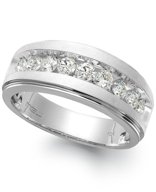 Macy's Men's Nine-Stone Diamond Ring in 10k White Gold (1/4 ct. t.w.)