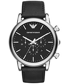 Emporio Armani Men's Chronograph Matte Black Leather Strap Watch 46mm AR1828
