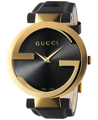 Gucci Unisex Swiss Interlocking Black Leather Strap