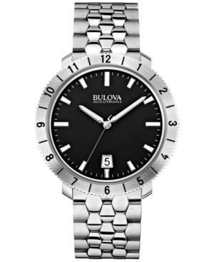 Bulova Accutron Ii Men's Moonview Stainless Steel Bracelet Watch 42mm 96B207