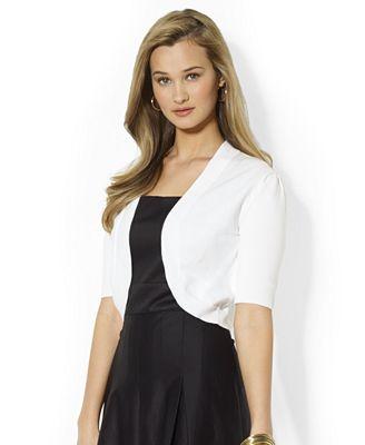 Lauren Ralph Lauren Petite Short-Sleeve Open-Front Cardigan ...