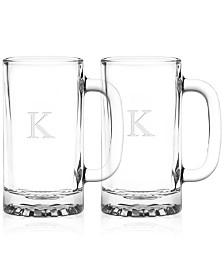 Monogram Beer Mugs, Set of 2
