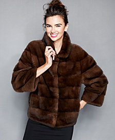 The Fur Vault Three-Quarter-Sleeve Mink Fur Jacket