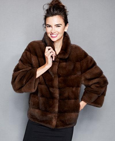 The Fur Vault Three-Quarter-Sleeve Mink Fur Jacket