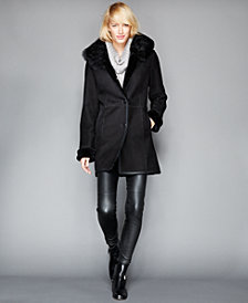 The Fur Vault Fox-Fur-Collar Shearling Coat
