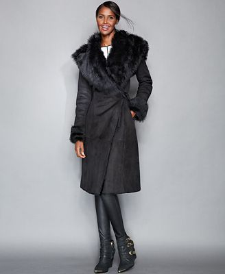The Fur Vault Toscana Shearling Hooded Wrap Coat - The Fur Vault ...