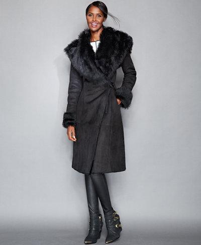 The Fur Vault Toscana Shearling Hooded Wrap Coat - The Fur Vault ...
