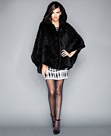 The Fur Vault Hooded Knitted Mink Fur Poncho