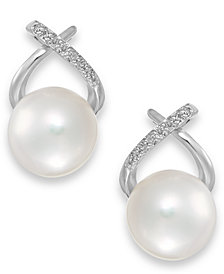 Cultured Freshwater Pearl (8mm) and Diamond Accent Cross Earrings in 14k White Gold