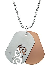 Men's Diamond Accent Cutout Dog Tag Necklace in Stainless Steel