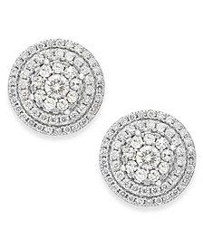 Diamond Cluster Stud Earrings in 14k White Gold (1-1/2 ct. t.w.)