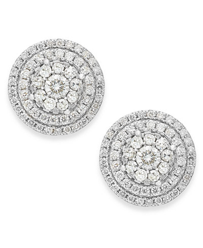 Diamond Cluster Stud Earrings in 14k White Gold (1-1/2 ct. t.w.)