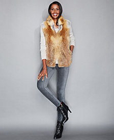 The Fur Vault Natural Red Fox Fur Vest
