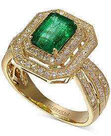 Brasilica by EFFY Emerald (1-3/8 ct. t.w.) and Diamond (3/8 ct. t.w.) Ring in 14k Gold