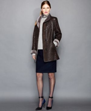 The Fur Vault Shearling Chevron-Stripe Coat