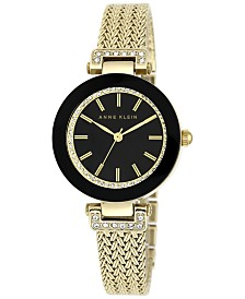 Anne Klein Women's Gold-Tone Stainless Steel Mesh Bracelet Watch 30mm AK-1906BKGB