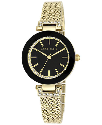 anne klein women 39 s gold tone stainless steel mesh bracelet watch 30mm ak 1906bkgb watches