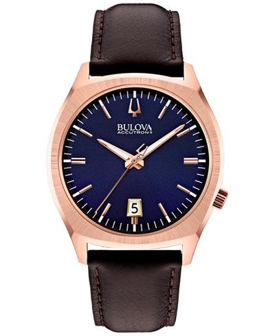 Bulova Accutron II Men's Surveyor Brown Leather Strap Watch 41mm 97B133