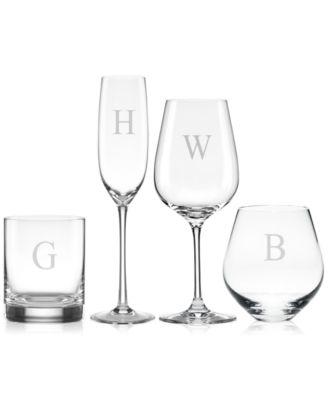 Tuscany Monogram Barware Block Letter Highball Glasses, Set Of 4