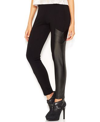 Bar III Faux-Leather Paneled Leggings, Only at Macy's - Pants ...