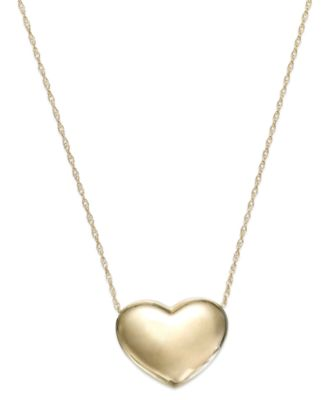 Signature Gold Puffed Heart Pendant Necklace in 14k Gold or 14k