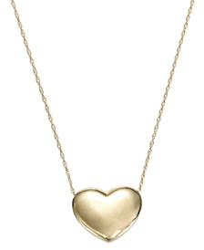 Puffed Heart Pendant Necklace in 14k Gold