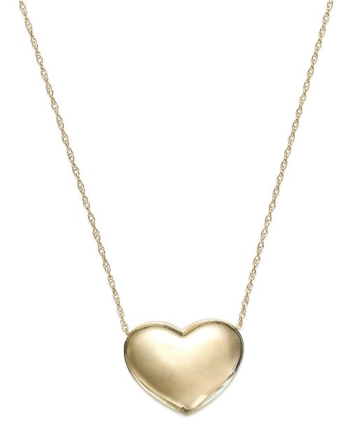 830dd9f04 Signature Gold Puffed Heart Pendant Necklace in 14k Gold & Reviews ...