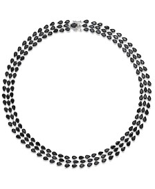 Black Sapphire Three-Row Necklace in Sterling Silver (97 ct. t.w.), Created for Macy's