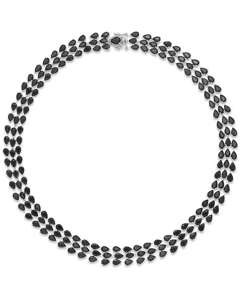 Macy's Black Sapphire Three-Row Necklace in Sterling Silver (97 ct. t.w.), Created for Macy's