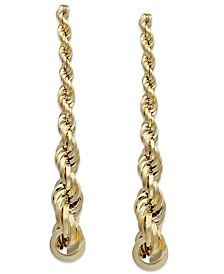 Graduated Rope Linear Earrings in 14k Gold, 1 1/2 inch
