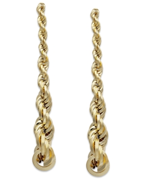 Graduated Rope Linear Earrings in 14k Gold