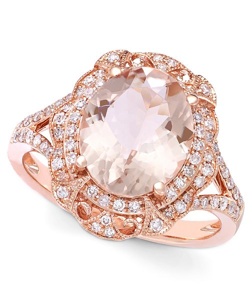 EFFY Collection Blush by EFFY Morganite (3-1/8 ct. t.w.) and Diamond (1/4 ct. t.w.) Oval Ring in 14k Rose Gold
