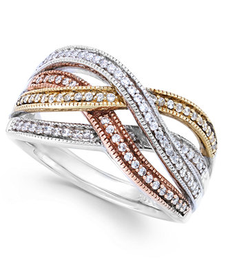 Diamond Bypass Ring In Sterling Silver, 14k Rose Gold And 14k Gold (1/4 Ct. T.W.) by Macy's
