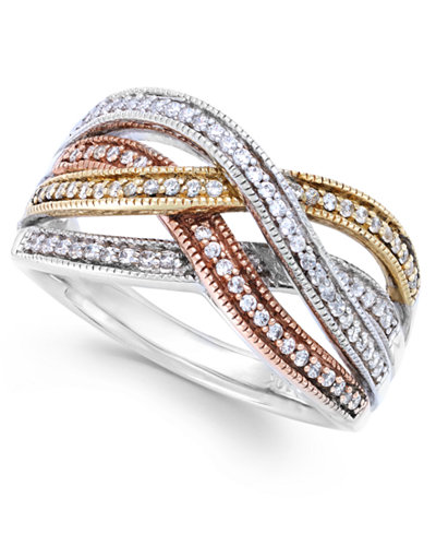 Diamond Bypass Ring in Sterling Silver, 14k Rose Gold and 14k Gold (1/4 ct. t.w.)