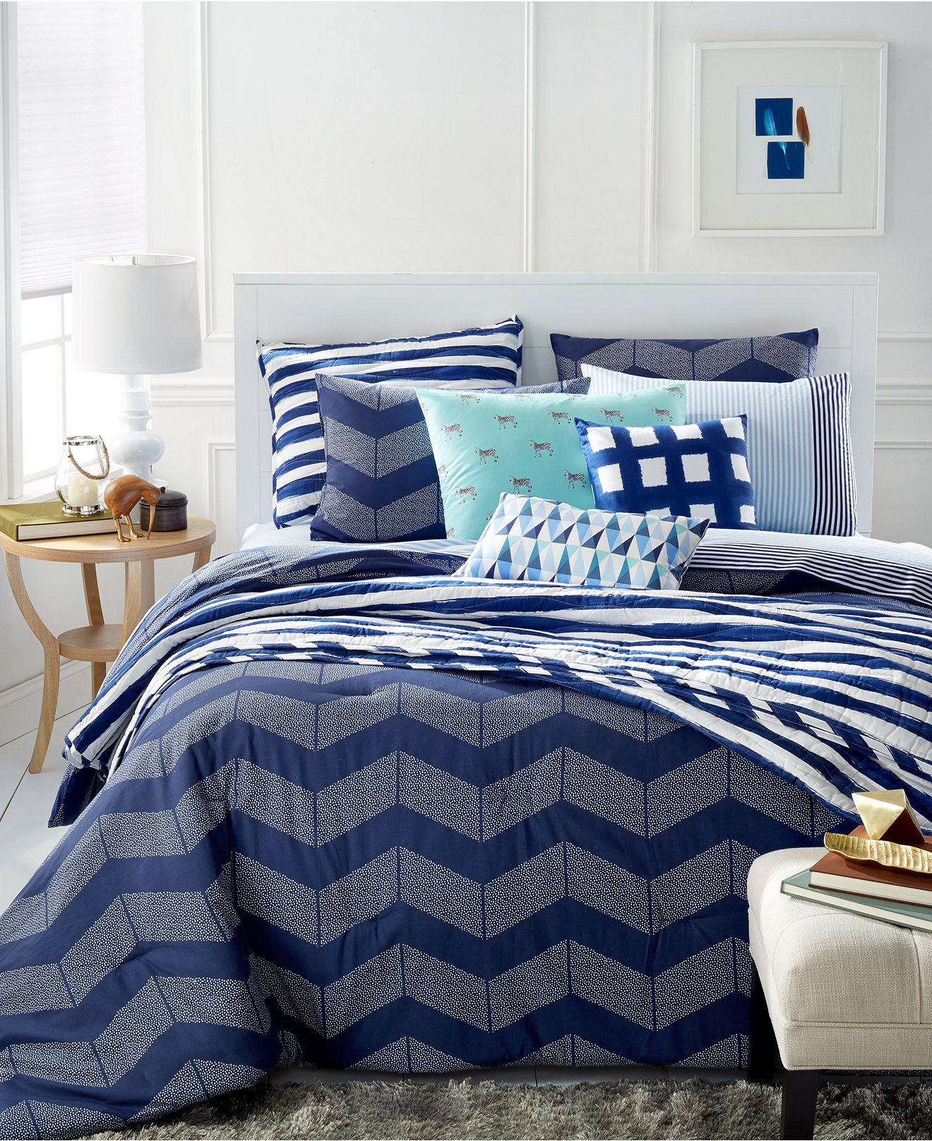 Black and blue bed sheets - Whim By Martha Stewart Collection Navy Spot Chevron Bedding Only At Macy S Bedding Collections Bed Bath Macy S