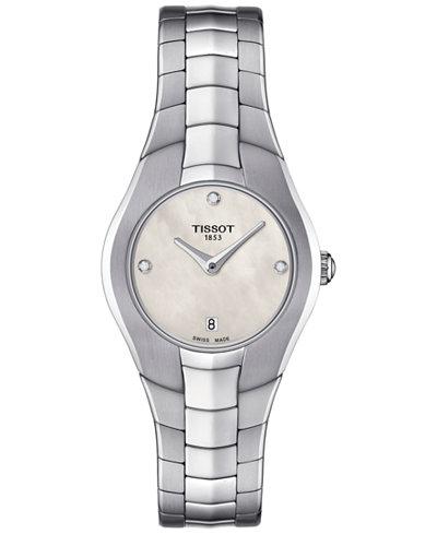 Tissot Women's Swiss T-Round Diamond Accent Stainless Steel Bracelet Watch 26mm T0960091111600