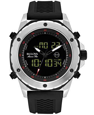 Bulova Men's Analog-Digital Chronograph Marine Star Black Silicone Strap Watch 50mm 98C119