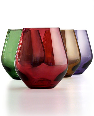 Lenox stemware tuscany harvest stemless wine glasses set of 4 macy 39 s - Lenox stemless red wine glasses ...