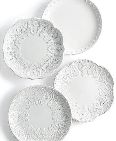 Maison Versailles Blanc Set Of 4 Assorted Appetizer Plates