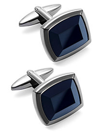Sutton by Rhona Sutton Men's Stainless Steel and Jet Stone Cuff Links