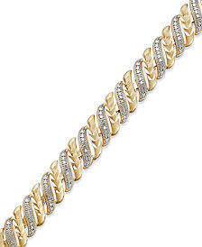 Diamond Accent Swirl Bracelet in Sterling Silver-Plated Bronze or 18k Gold over Sterling Silver-Plated Bronze
