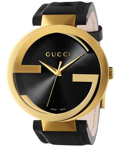 Gucci Unisex Swiss Interlocking Latin Grammy® Special Edition Black Leather Strap Watch 42mm YA133208