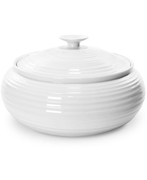 """Portmeirion """"Sophie Conran"""" White Low, Covered Casserole, 6 pt."""